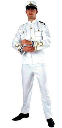 erdbeer-clown - Herren Marine Offizier Kostüm- Hose Jacke Hut, weiß, L-XL