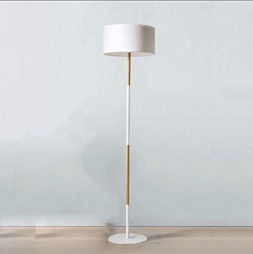 Lampada da terra lampada da terra, lampada da terra tinta unita, paralume in tessuto, arte in legno, divano da studio per soggiorno (colore : bianca)