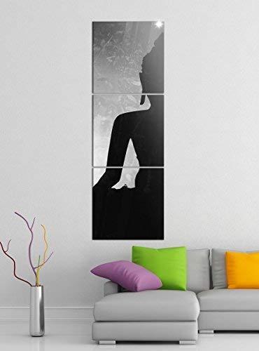 Leinwandbild 3tlg Buddha Buddhismus Feng Shui Religion schwarz weiß Bilder Druck auf Leinwand Vertikal Bild Kunstdruck mehrteilig Holz 9YA4939, Vertikal Größe:Gesamt 40x120cm