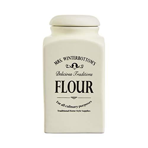 BUTLERS MRS. WINTERBOTTOM'S Mehldose 1,3 l in Creme - Vintage Vorratsdose aus Steingut im englischen Design - stilvolle, klassische Aufbewahrung -