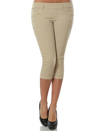 Damen Capri Hose Sommerhose Kurze-Hosen (weitere Farben) No 15527, Farbe:Beige;Größe:44 / 2XL