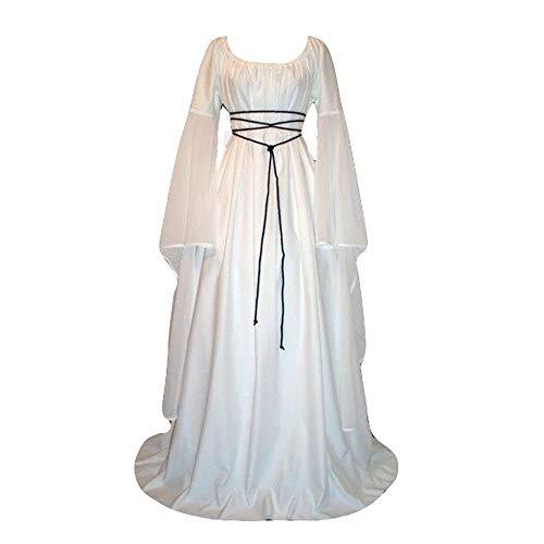 KPILP Frauen Plus Size Abendkleider Solide Vintage Renaissance Langarm Verband Langes Kleid Maxi Formelle Kleidung(Weiß,EU-46/CN-2XL