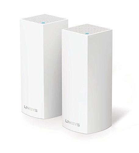Linksys Velop WHW0302-EU - Sistema Wi-Fi en malla para todo el hogar (paquete de dos nodos, tribanda, instalación guiada, modular, gestión de red por aplicación), color blanco width=