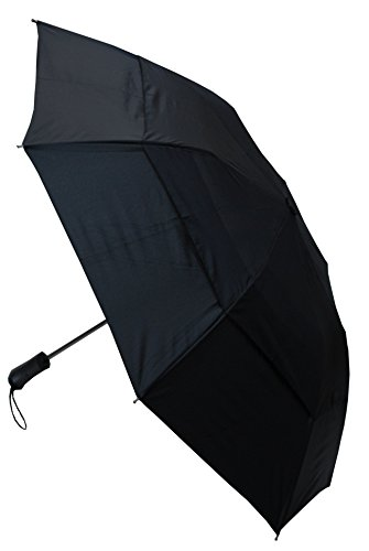 C&C LONDON - TRÈS ROBUSTE - Toile aérée - CONCEPTION HAUTEMENT TECHNIQUE POUR COMBATTRE LES DOMMAGES CAUSÉS PAR LES RETOURNEMENTS - Parapluie pliable - Ouverture automatique - 2 Plis - Noir