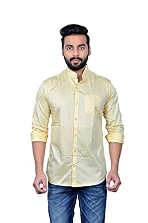 moudlin Solid Men's Mandarin Collar Beige_m Casual Fullsleeve Shirt by Maruti Online