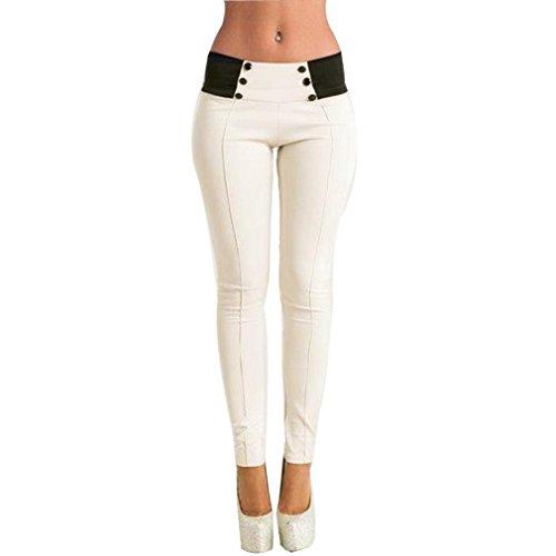 Tefamore Frauen High-Waist Skinny Stretch Pencil Hose lange schlanke Hose Leggings (M, Weiß) (Flat-front-hose Gefüttert)