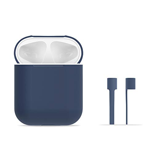 AirPods Case Protective, FRTMA Silicone Skin Case with Sport Strap for Apple AirPods, Midnight Blue