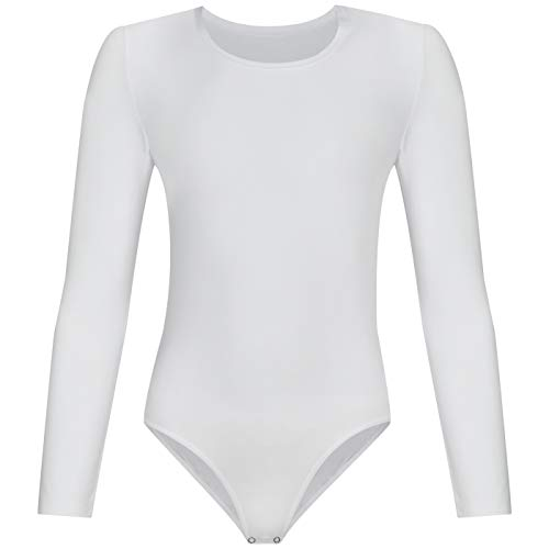 Evoni Dafi Kinder Langarm-Body in Weiß | Mädchen-Body Rundhals-Ausschnitt | Gr. 164 | Druckknöpfe im Schritt | Kinderwäsche aus Baumwolle | pflegeleicht & komfortabel | Turnbody | Ballett-Trikot - Kind Langarm Trikot