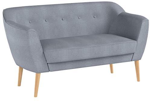 Sofa Scandi 2-Sitzer, Kollektion Scandinavian Design, Holzfüße, Couch 2-er, Couchgarnitur, Sofagarnitur, Polstersofa - Wohnzimmer (Grau (Sawana 21))