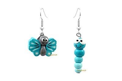 Lady-Charms - Fait main - Boucles d'oreilles papillon & la chenille (bleu)