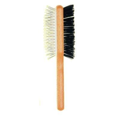 3 vE premiere 2013 - Brosse double pour cheveux avec manche en bois de hêtre, poils résistant