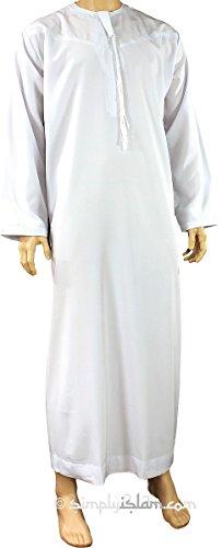 Omanischer Mantel ohne Kragen in weiß, für Herren, weiß, 58