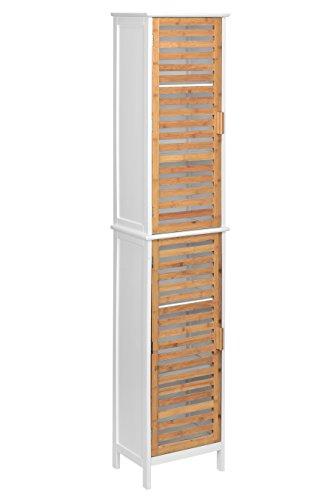 Premier Housewares – Armario de bambú de 2 puertas, color blanco