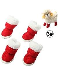 Easy Go Shopping con Gusto Las Botas de Navidad de Felpa Mascotas Zapatos Perro Botas,