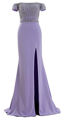 MACloth Women Off The Shoulder Beaded Formal Evening Gown Beaded Long Prom Dress (Custom Made, Lavender) Strapless Sweep