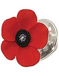 Pin de solapa con diseño de amapola hecho con esmalte rojo y negro y plata. Viene con caja de regalo