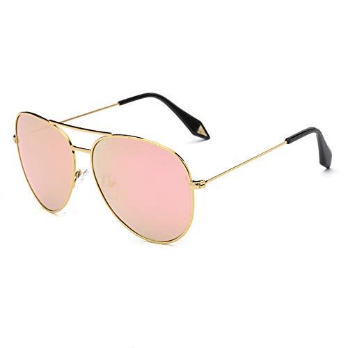 ZSHHG Mode Bunte Spiegel Polarisierte Herren Sonnenbrille Victoria Sonnenbrille Reflektierende Sonnenbrille Damenmode Goldrahmen Rosa 148 * 132 * 52 Mm