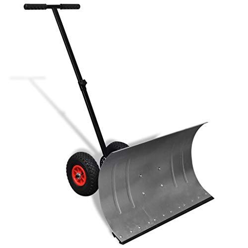 mewmewcat Metall Schneeschaufel Schneeschieber Hand-Schneepflug mit 2 Rädern Einstellbar Schneeräumer 74 x 46 cm