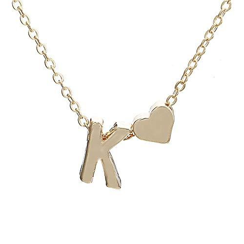 Kycut Women Necklace Fashion Cute Heart Letter Choker Chain Pendant Lady Necklace Jewelry(Glod K) - Womens Lady Hunter 8