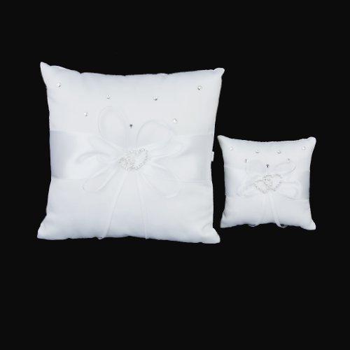 Cuscino porta fedi decorato con due cuori, per matrimonio, bianco avorio, 20x 20cm