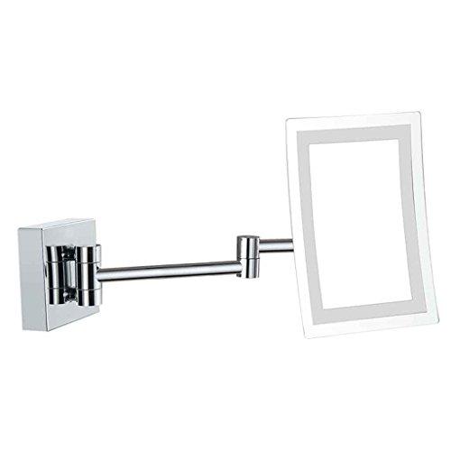 Miroirs Salle de Bains d'hôtel avec la lumière a mené Le de de beauté de de Salle de Bains de de Pliage télescopique Se Pliant loupe (Couleur : Surface Mounted)