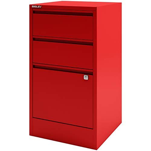 Kardinäle Home-office (Home Office Beistellschrank | Büro Schubladenschrank mit Griffleiste 3 Schubladen aus Metall - abschließbar in Kardinal rot)