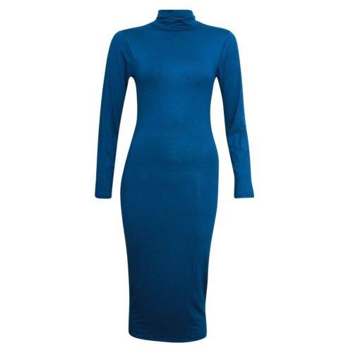 Fashion 4 moins Funky Boutique Haut à manches longues Col roulé Robe Midi Uni Bleu - Bleu