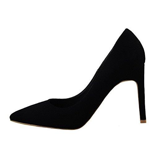 AllhqFashion Femme à Talon Haut Dépolissement Couleur Unie Tire Pointu Chaussures Légeres Noir