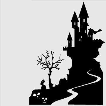 Happy Halloween Große Wandaufkleber Burg Glas Aufkleber Fensteraufkleber Poster Vinyl 58x80CM