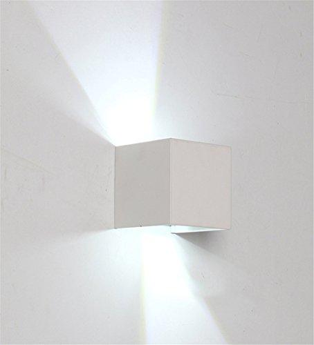 JJZHG Applique Murale Interieur 6WLED Lampe de mur étanche extérieure Lampe de télévision créative mur allée d'escalier de Couloir,100 * 100 * 100mm,Blanc comprend:Applique murale - 100 Applique