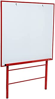 YOUNGSTART Large Height Adjustable Wall Whiteboard, Red, 11Enc02619