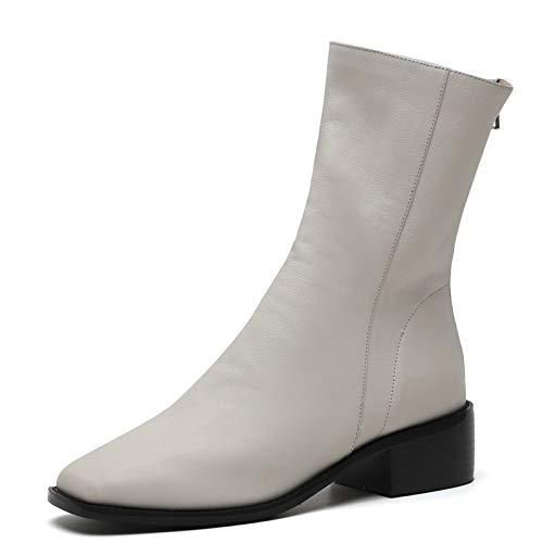 MENGLTX High Heels Sandalen Marke Frauen Mitte Der Wade Stiefel High Heels Echtes Leder Karree Party Schuhe Frau Weiblich Hohe Warme Damen Stiefel 3 Weiß -