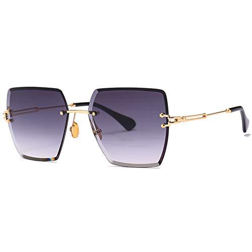 YYTT Sonnenbrillen für Damen Rahmenlos Beschneiden Eckige Sonnenbrille Gradient Farbfilm Mode Metallrahmen UV 400 Hinausgehen Sonnenbrillen Reisen,01