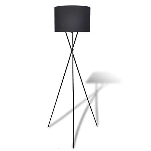 vidaXL Lampadaire avec Support Haut Noir Lampe de Sol à Long Trépied Salon