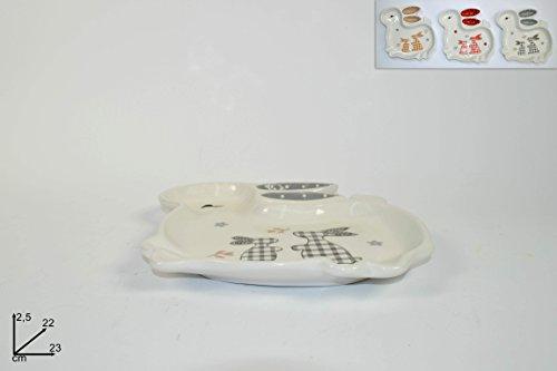 Piatto in ceramica a forma di coniglio 23 cm decoro pasqua pasquale