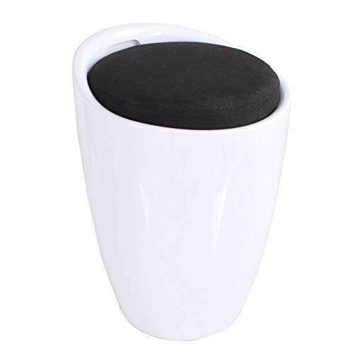 Wangdz Osmanischer tragbarer PU-Leder/ABS/Baumwollproduktions-faltender Aufbewahrungsbehälter-Speicher-Hocker, mit Abnehmbarer Abdeckung, verwendbar für das Wohnzimmer (Farbe : SCHWARZ) - Schwarz Osmanischen Folding