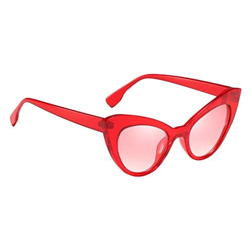 Baoblaze Retro Sonnenbrille UV400 Katzenaugen Brille Gläser Kostüm Requisiten - rot