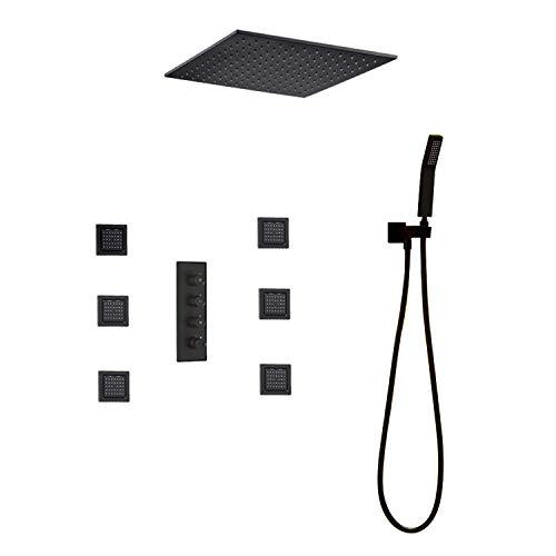 Duschsystem, zeitgenössische schwarze Malerei Dusche Wasserhahn Set Thermostat Mischbatterie Regen 16-Zoll-Duschkopf & 6 Körpersprays & Handbrause, Luxus-Duschset