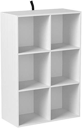 WOLTU Bibliothèque Armoire Etagère de Rangement 60x30x89cm en MDF pour Salon 6 Cubes Compartiments,SK002ws3