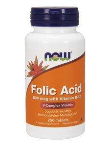 Folic Acid 800mcg + B-12 25mcg Vegetarian 250 Tablets