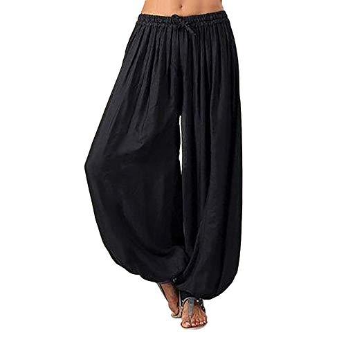 ten*jiao Unisex Haremshose Damen Hosen große größe – Einfarbig Haremshose Sommerhose Yogahose Aladinhose Baggy Harem Stil mit Elastischen Bund