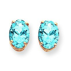 14ct Yellow Gold 8x6mm Oval Blue Topaz