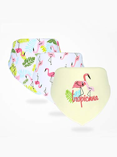 Enfant Bébé Bandana Dribble Bavettes avec Boutons De Presse Coton 0-3 Ans Pack De 6Pieces Pack,Flamingo