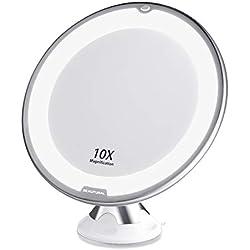 Beautural Grossissant Miroir Maquillage 10x avec Lumières LED 1 Joint à Bille d'attache Ajustable à 360° Miroir Cosmétique Portable,pour Salle de Bain, Voyage