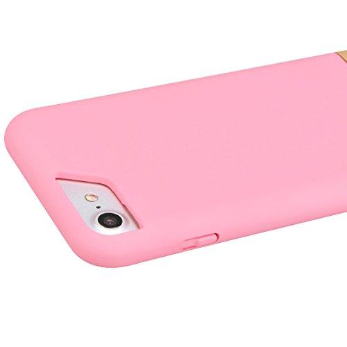 SmartLegend Coque iPhone 7, Etui iPhone 7, Plastic Hard Coque pour Apple iPhone 7 Housse Plastic Sweet Candy Colorful Hard Body Case Extrêmement Mince Légère Back Cover - Noir Rose