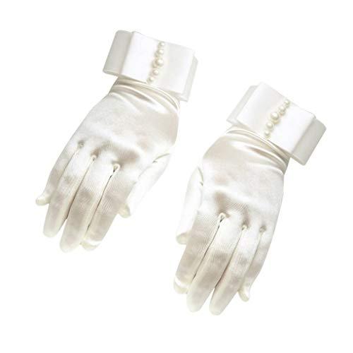 Handgelenk Länge Brauthandschuhe (fish 1 Paar Frauen-Mädchen-Handgelenk Länge Brauthandschuhe Perlen Handschuhe Weibliche Braut Hochzeit Kleid-Handschuhe)