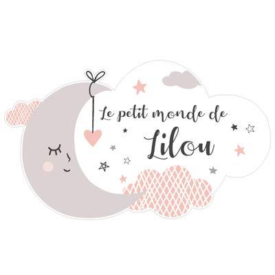 Sticker Porte Prénom Personnalisable Rose Le Petit Monde de. - Dimensions 25x15cm - Adhesif...