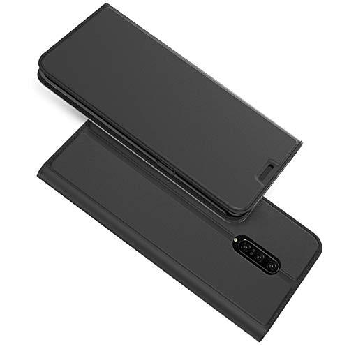Oppo Reno Z Hülle, Premium Leder Flip Case mit Standfunktion undKartenfach Magnetisch Ledertasche Handyhülle TPU Innenraum Case Slim Lederhülle für Oppo Reno Z Schwarz