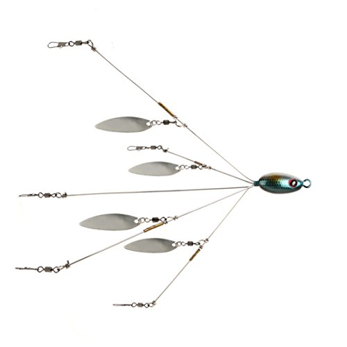 Andux Esche Accessori Alabama Pesca Gruppo con Paillettes Cinque esche Bait Disponibile F-CG-01 (Blue Fish testa)