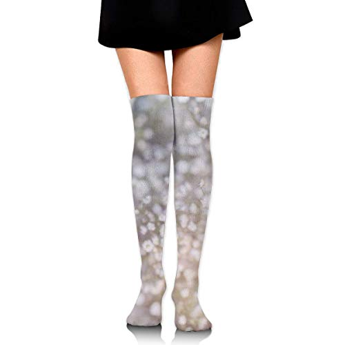 White Dandelion Flowers Personalized Long Full-Length Socks - Running, Sports, Travel, Cycling, Traveling 25.6 Inchs -